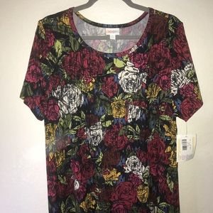 LuLaRoe Dresses - Roses Carly w/ Black Microstripes BNWT 2X LuLaRoe